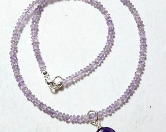 Dainty Amethyst Necklace, lavender necklace, Lavender Amethyst, Amethyst Pendant, 925 Silver