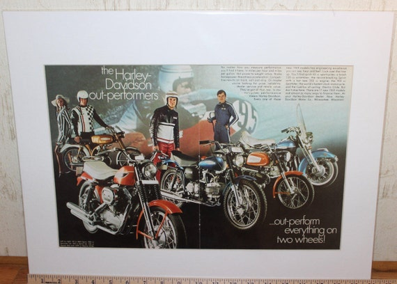 "1969 Harley-Davidson Motorcycles 16"" x 20"" Matted Vintage Print Ad #modc68ia11m"