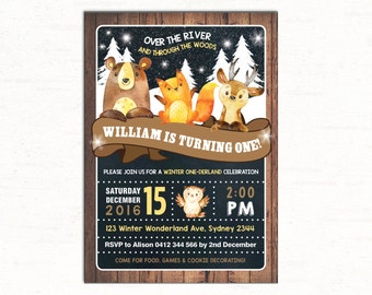 Winter WOODLAND Onederland Birthday Invitation. Winter Forest Party Invite. First Birthday or All Ages. Woodland Animals Rustic Wood. WOOD10
