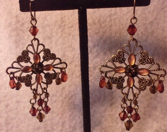 Vintage, Victorian Style Chandelier Brass and Beaded Dangle Earrings, Vintage Earrings, Vintage Jewelry