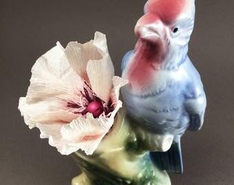 Paper Flower in a Vintage Blue Jay Vase, vintage vase, Royal Copley, floral decor, paper flower vase, paper flower in a vase
