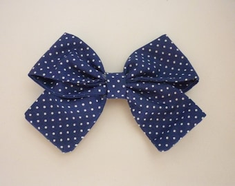 Hair bow Set / Cotton fabric bows / 2 Navy Blue and White dotted hair pins / Alligator clip and barrette / Sisters gift / Friendship gift