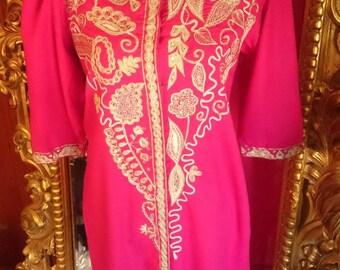 Vintage Embroidered Indian Boho Silk Robe Dress