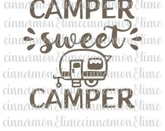 Camping Svg, Camper Sweet Camper Svg, Camping Clipart, Camper Svg, Camping Svg Design, Camping Svg Files
