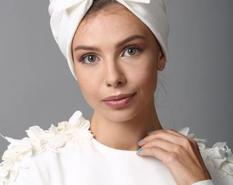 tuban hat, white bow turban, turban headband, head wraps, turban hat, hair turban, head turban, head scarf, turban head wrap, headwrap