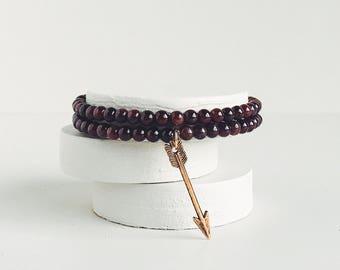 NOMAD HEART Garnet Bracelet | Hunger Games Bracelet Hunger Games Jewelry Arrow Bracelet Garnet Jewelry January Birthstone Bohemian Garnet