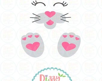 Easter svg SVG, DXF, EPS cut file Easter Svg bunny svg bunny face svg easter cut file bunny feet svg easter cut file bunny parts cut file