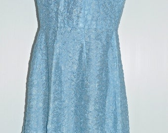 Vintage 60's blue dress Size 38-40 FR