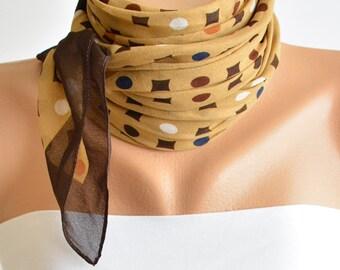 Brown and Dark Mustard Geometric Scarf- Bandana Scarf- Soft Scarf- Headband Scarf- Headband