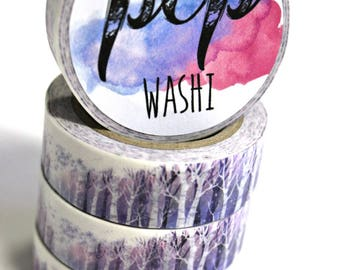 Washi Tape - Purple Washi Tape - Winter scene Washi Tape - Paper Tape - Planner Washi Tape - Tree Washi - Decorative Tape - Deco Paper Tape