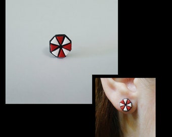 Umbrella Corporation Earring Studs Inspired from Resident Evil Polymer Clay Handmade