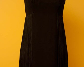 Vintage Irving Nadler Black Fringe Dress with Back Zipper Size Small