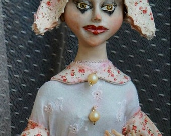OOAK Art Doll COLOMBINE - decoration doll - collectible porcelain doll - artist dolls