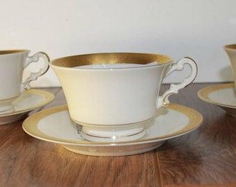 Vintage Tea Cup Set, Vintage Tea Cup China Set, Bracelet Old Ivory Tea Cup and Saucer Set, Set of 4, Made In America