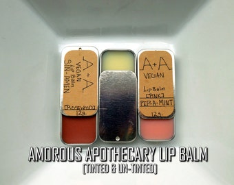 Amorous Apothecary Lip Balm | Pure Vegan 12g. Pink/Rosewood/Naked Soy Wax Lip/Cheek Balm with Shea/Cocoa Butter & Coconut/Castor Oil