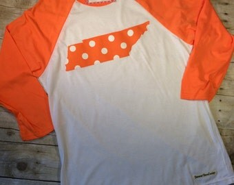 Orange Tennessee State Fabric Raglan, Orange Baseball Tee, Tennessee State Fabric Raglan