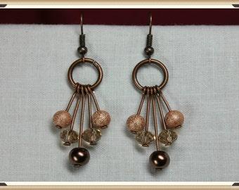 Copper Pendulum Style Earrings