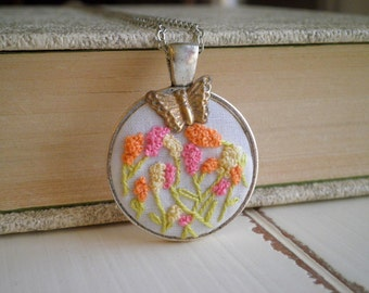 Flower Embroidery Necklace - Floral Embroidered Necklace - Miniature Hyacinth & Butterfly - Flower Garden Fiber Art Terrarium Jewelry Gift