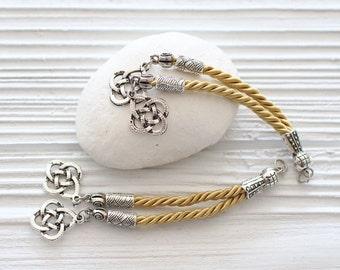 Light yellow rope tassel pendant, beige tassel with silver charms, long earrings tassel, jewelry tassels, necklace tassel, silver cap tassel