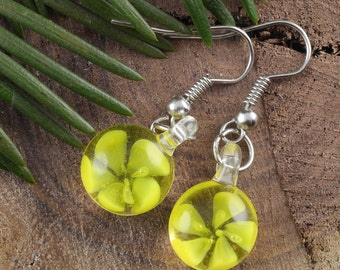 3.7cm Yellow Flower Earrings - Glass Earrings, Yellow Earrings, Yellow Glass Jewelry, Flower Jewelry, Glass Flower, Chakra Jewelry E0194