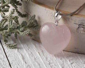 One Small ROSE QUARTZ Crystal Heart Pendant - Rose Quartz Pendant, Rose Quartz Jewelry, Heart Shaped Stone, Heart Chakra Stone E0242