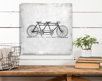 Tandem Bicycle, Vintage Bike Canvas, Vintage Poster, Black and White Print, Vintage Bike Print, Printed on Canvas, Canvas Wall Decor