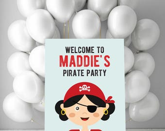 Girls pirate birthday party welcome sign, pirate party backdrop, Custom party sign, Kids birthday welcome, printable birthday welcome poster