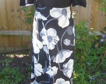 "1970s Black and White Maxi Dress, 36"" bust 30"" waist"