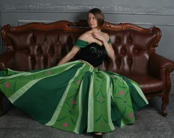 Anna Frozen coronation dress and cape - Anna Frozen cosplay - Anna green dress - Disney cosplay