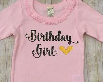 Birthday Shirt Girl-Short Sleeved Birthday Girl Pink Shirt-Gold Glitter-Girls Birthday