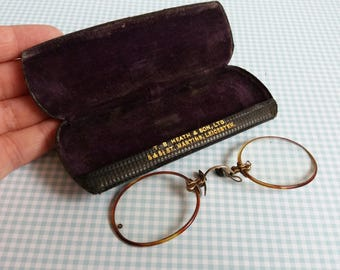 Vintage 1920s Gold Bridge Reading Glasses - Tortoiseshell Framed Spectacles - Oxford Pince-Nez  - T.B.Heath & Sons Leicester