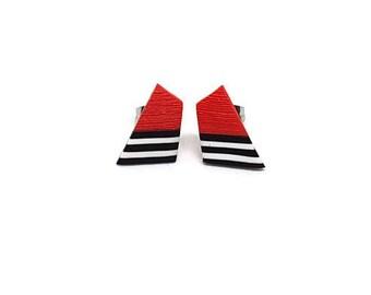 Geometric stud earrings red, Red stud earrings, Red black white studs, Trendy earrings, Modern earrings, Fashion earrings, Geometrical studs