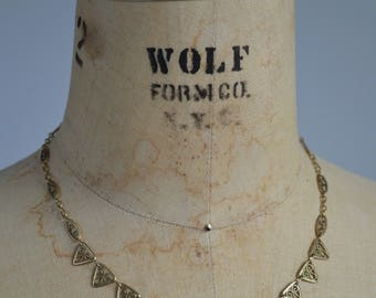 Kalevala necklace - antique 1930s filigree collier - 30s art deco geometric necklace