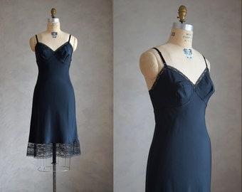 vintage black Barbizon slip | vintage 1970s 1980s lace trimmed later Barbizon slip | black lace slip or nightgown