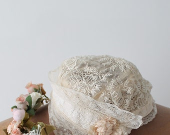 Baptism Bonnet - french embroidery hat - Little cap for babies - baptismal hat - Antique french babies hat