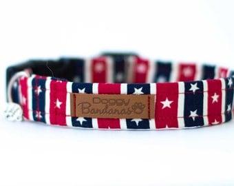 Patriotic Dog Collar American Flag Dog Collar Stars Stripes Dog Collar USA Custom Dog Collar Boy Dog Collar Red Blue Dog Collar 4th of July