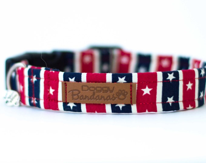 Patriotic Dog Collar American Flag Dog Collar Stars Stripes Dog Collar USA Custom Dog Collar Boy Dog Collar Red Blue Dog Collar 4th of July