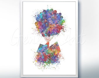 Disney Pixar Up, Balloon House, Flying House Watercolor Poster Print - Watercolor Painting - Watercolor Art - Kids Decor- Nursery Decor