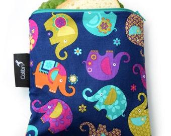 Ready to ship - Reusable Snack Bag - Elephants with zipper
