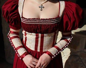 Renaissance Dress, Fantasy Dress, Historical Costume, Cosplay Dress, Fairy Dress, Renaissance Costume, Long Red Dress, Medieval Dress