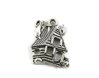 ON SALE 5 Haunted House Charms, 23mm x 17mm Haunted House Charm, Halloween Charm, Antique Silver, Metal Charms, Jewelry Making, C1194