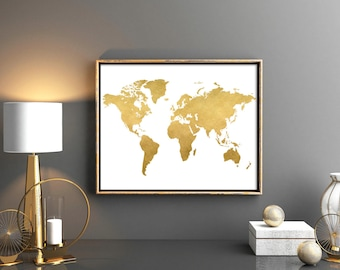 Gold world map world map printable  Map poster Map wall art weltkarte poster Poster world map world map nursery Print world map 12x16