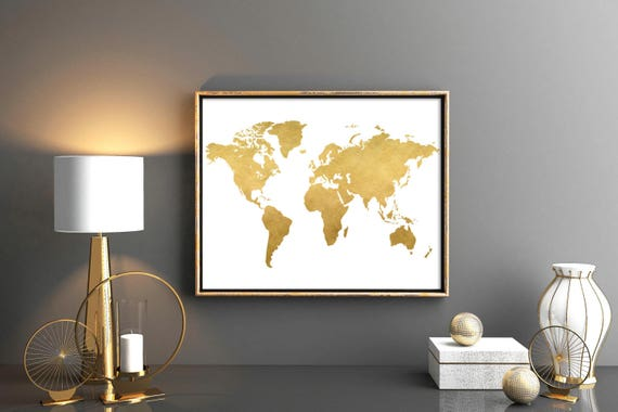 Gold world map world map printable map poster map wall art gold world map world map printable map poster map wall art weltkarte poster poster world map world map nursery print world map 12x16 gumiabroncs Images