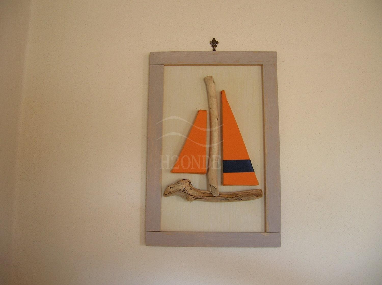 Driftwood framed sailboat wall art decor modern 3d beach - Decor art quadri bari ...