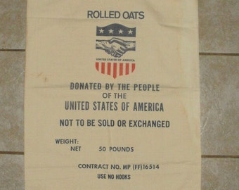 Free Shipping - Vintage Rolled Oats Freight Shipping Bag Donation Bag - Linen Material  - United States Of America