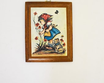 Retro Kids Wall Hanging - Children's room decor - Little Girl picking flowers with her Cat - 1960's Era