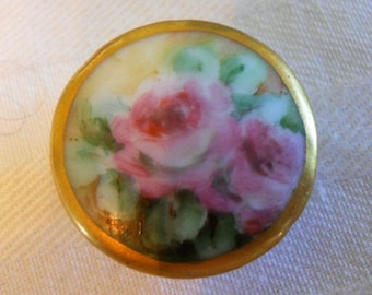 Antique Porcelain Button Stud ~ Hand painted pink roses with gold rim ~ 15/16th