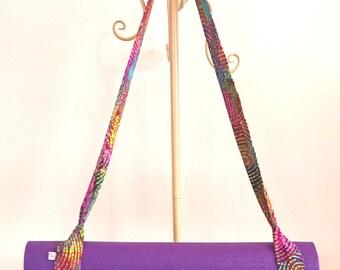 Adjustable Yoga Mat Strap, Yoga Mat Sling, Pilates Mat Sling, Pilates Mat Strap, Yoga Pilates Mat Towel Carrier, Batik, Rainbow, Purple