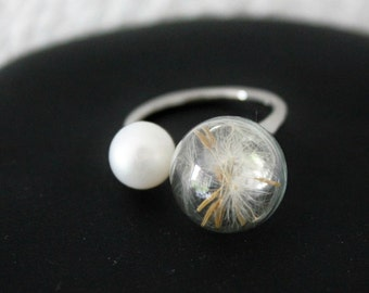 Dandelions ring size adjustable flower ring, gift, talisman, good luck charm, dandelion, ring, ring