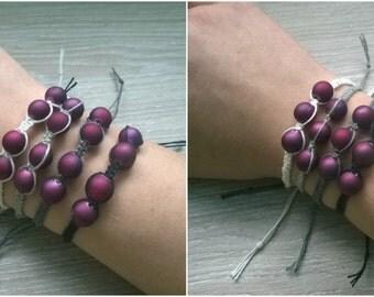 Handmade Hemp Bracelet with Wine Colored Beads